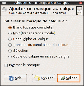options de masque